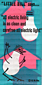 'Use more electricty!' says the bulb-shaped birdie.