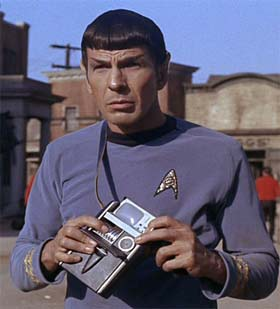 Spock on the back lot.