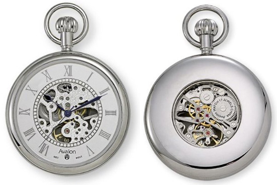 retro thing avalon mechanical skeleton pocket watch