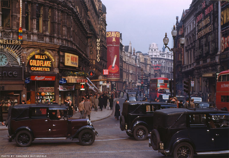 Shaftesbury Avenue from Picadilly Circus, West End of London, 1949
