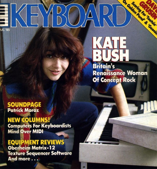 Kate Bush with her Fairlight, circa 1985