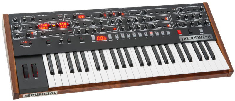 The brand new Sequential Circuits Prophet-6 analog polysynth.